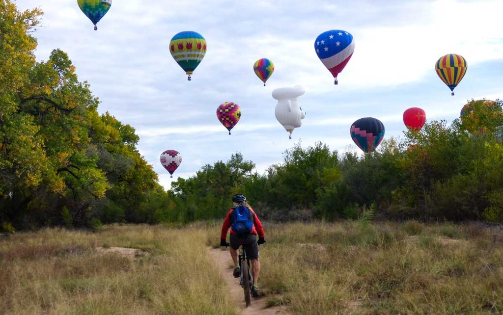 Biking the bosque during balloon fiesta