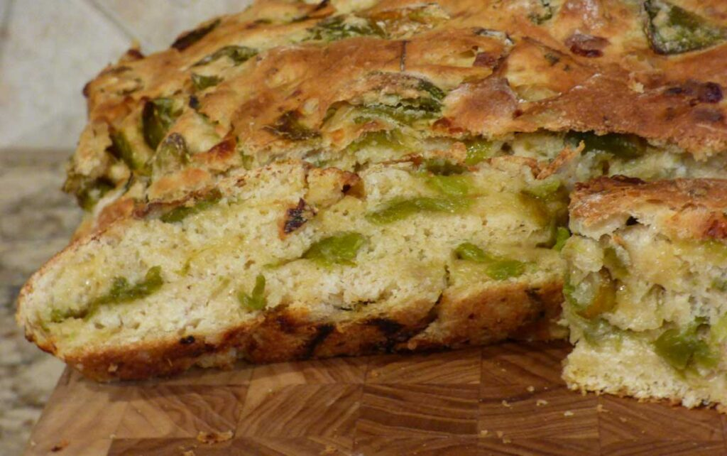 Green chile cheese bread sliced