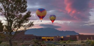 Balloons over Hyatt Tamaya in Bernalillo