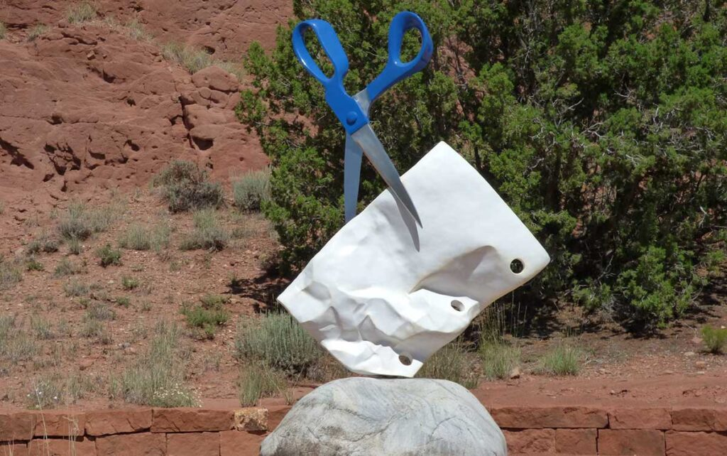Origami sculpture garden north of Cerrillos