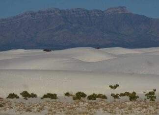 Mountains and gypsum dunes