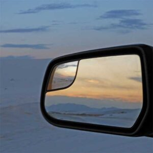 White Sands sunset in the rear view mirror