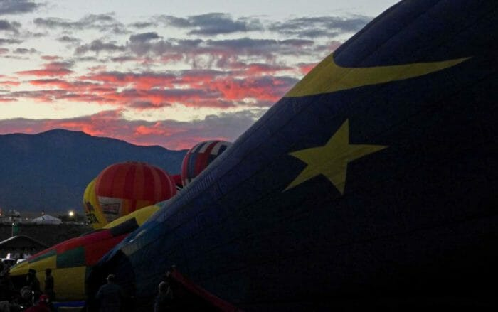 Sunrise on the first day of balloon fiesta