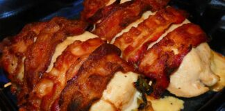 Hatch green chile and cheese stuffed chicken breast wrapped in bacon