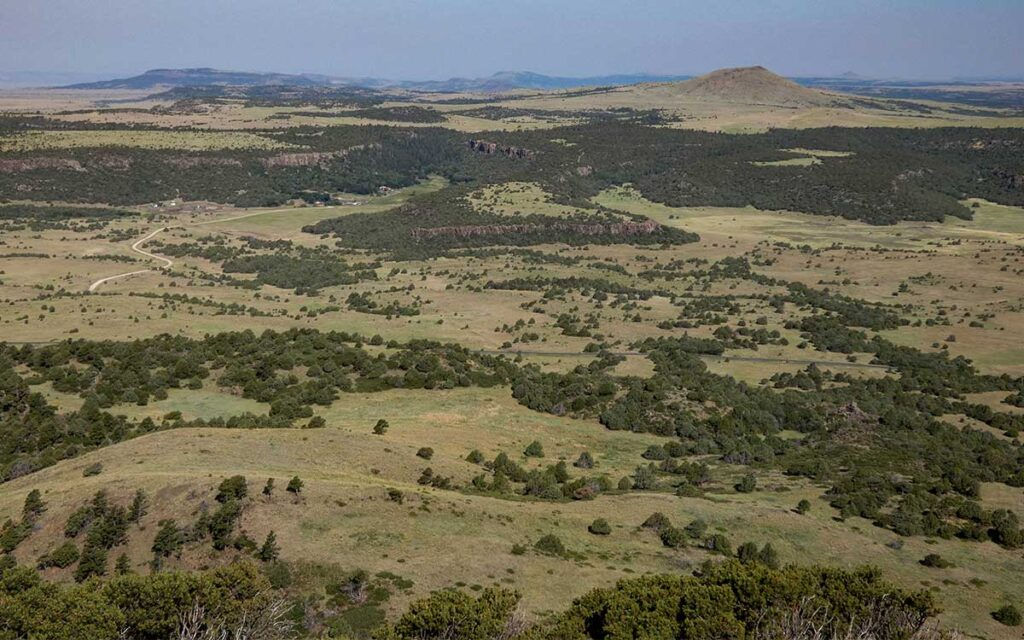 View west from the parking lot on top of Capulin volcano