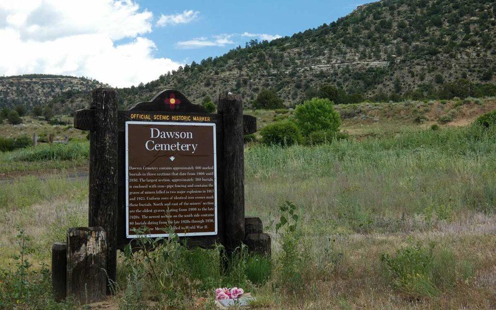 Dawson cemetery sign